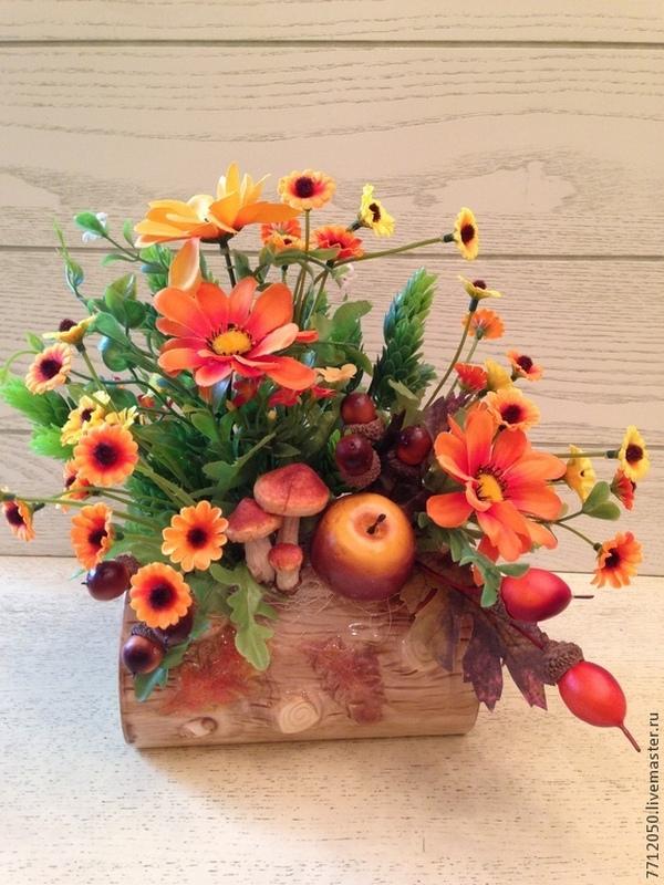 цветы и флористика полено осенняя цветочная композиция
