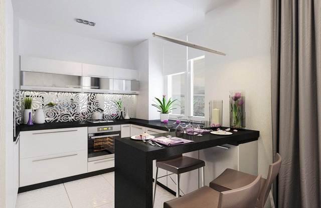 угловая кухня студия в квартире барная стойка фото