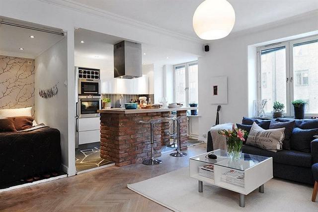 угловая кухня студия в квартире