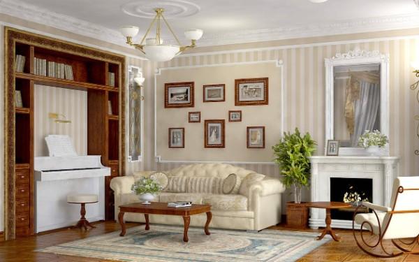 дом во французском стиле гостиная в светло-бежевом цветовом решении