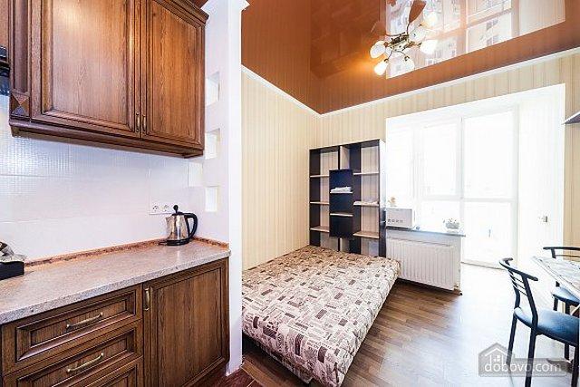 интерьер кухни студии и спальни