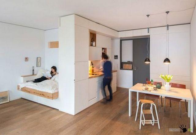 интерьер кухни студии спальня