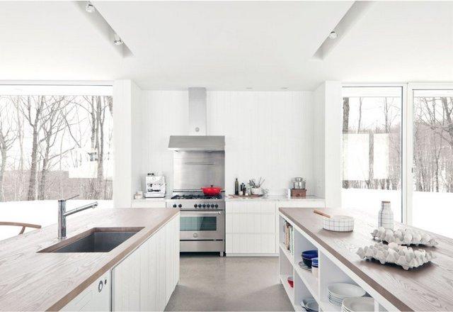 интерьер кухни студии в современной кухне