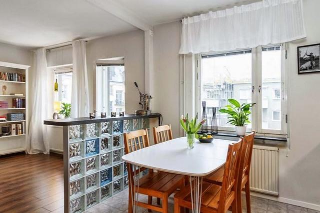 кухня гостиная столовая в скандинавском стиле
