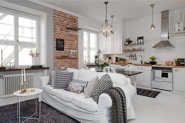 кухня гостиная в скандинавском стиле диван