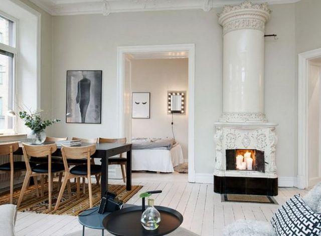 кухня гостиная в скандинавском стиле фальшкамин
