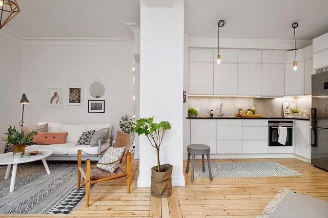 кухня гостиная в скандинавском стиле фальшстена