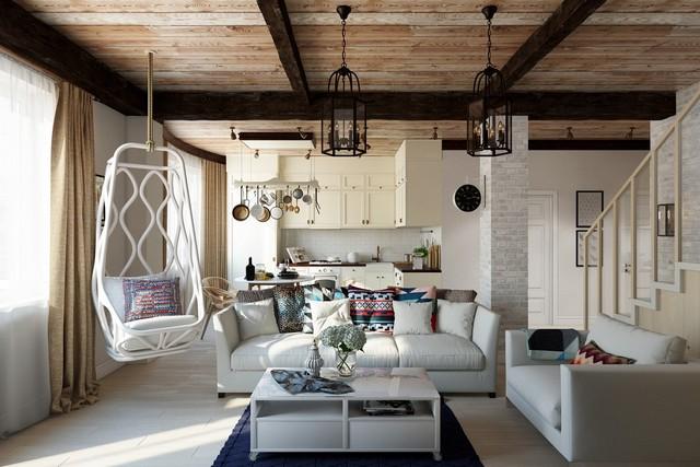 кухня гостиная в скандинавском стиле кресло-гнездо