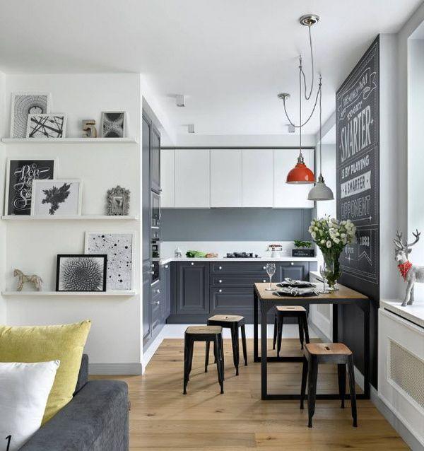 кухня гостиная в скандинавском стиле небольшая