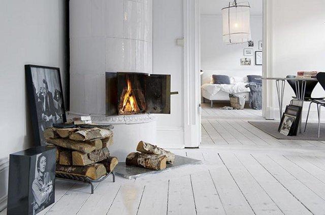 кухня гостиная в скандинавском стиле с камином фото