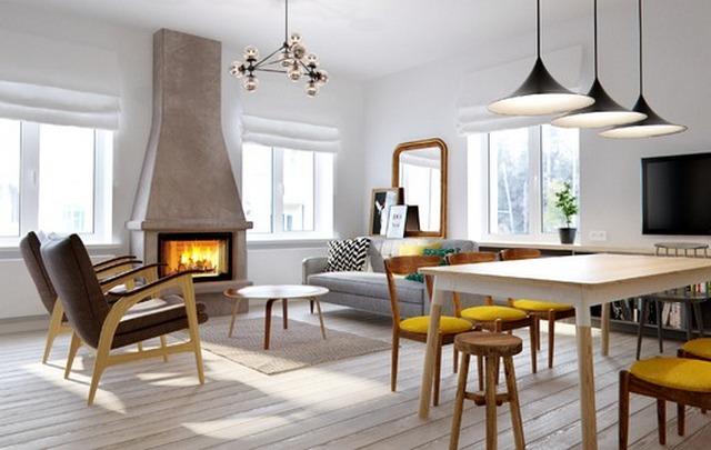 кухня гостиная в скандинавском стиле с камином