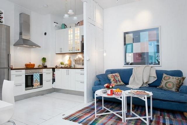 кухня гостиная в скандинавском стиле с перегородкой
