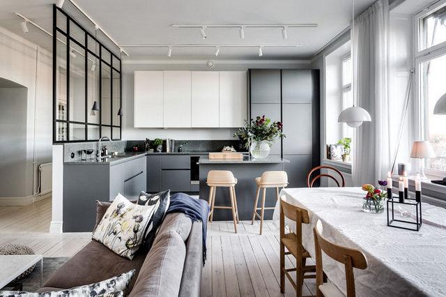 кухня гостиная в скандинавском стиле серые акценты