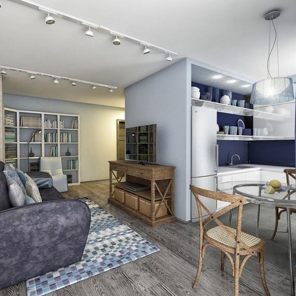 кухня гостиная в скандинавском стиле синие акценты