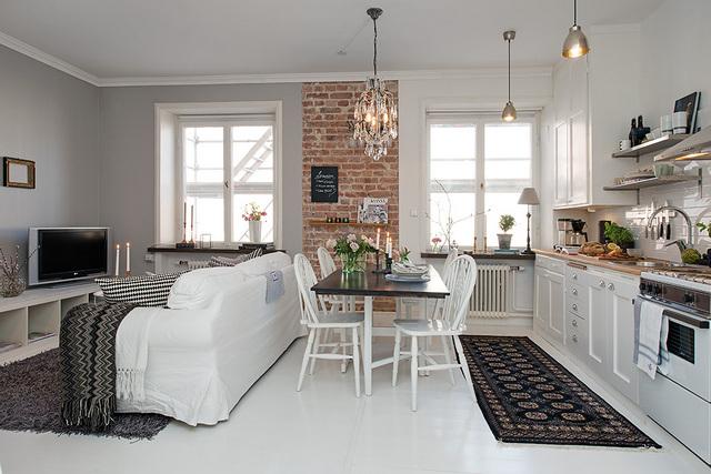 кухня гостиная в скандинавском стиле вид сзади