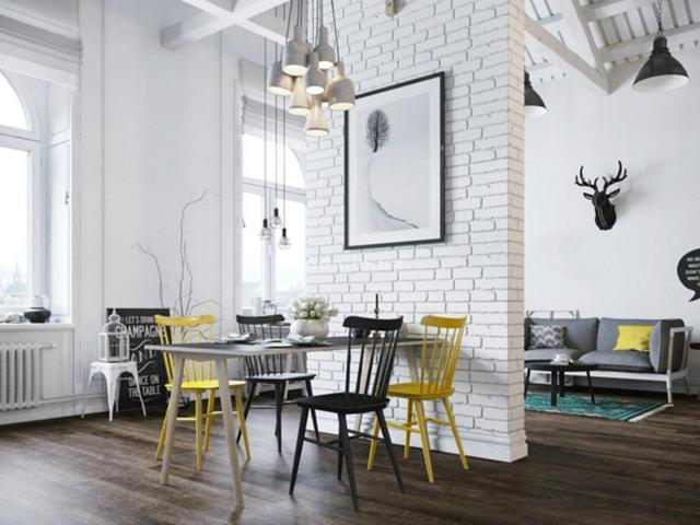 кухня гостиная в скандинавском стиле яркие стулья