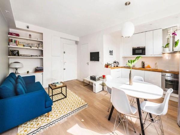 кухня студия с гостиной белый интерьер