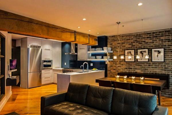 кухня студия с гостиной брутальный интерьер