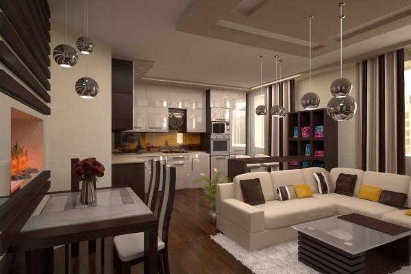 кухня студия с гостиной интерьер в шоколадных тонах