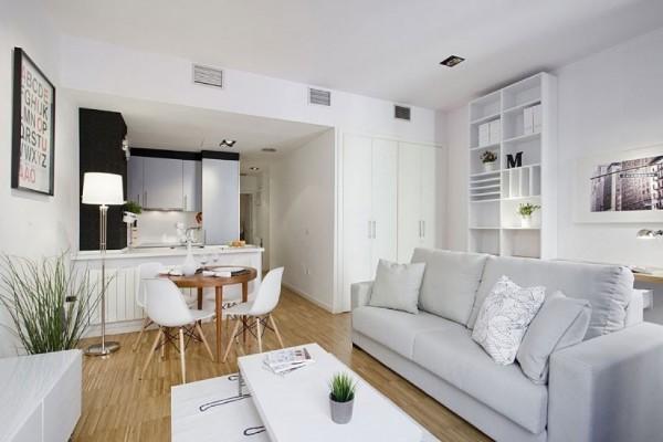 кухня студия с гостиной интерьер в скандинавском стиле
