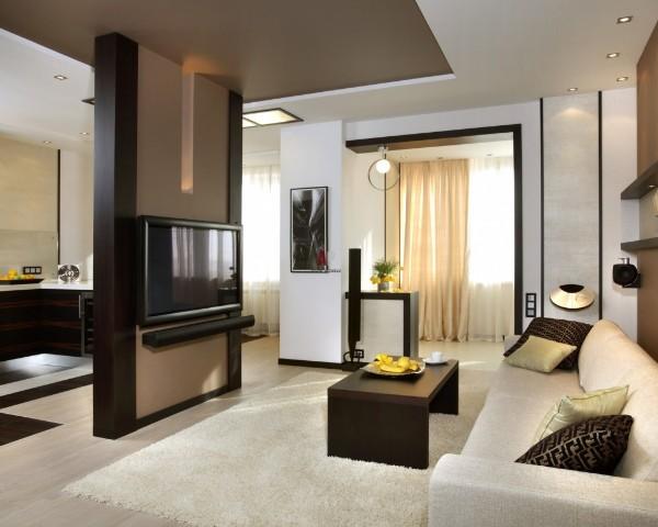 кухня студия с гостиной модный интерьер