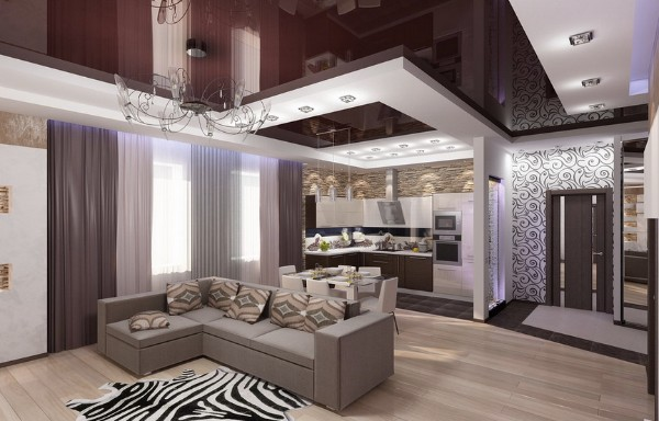 кухня студия с гостиной роскошный интерьер