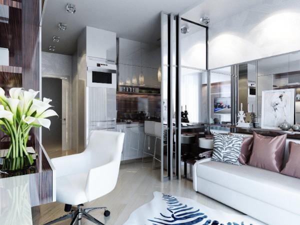 кухня студия с гостиной серый интерьер