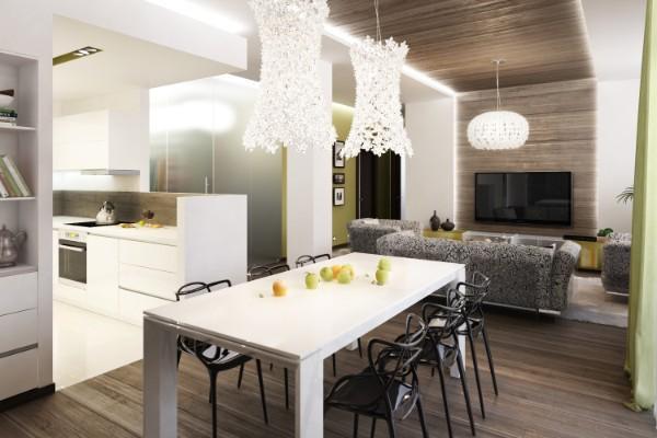 кухня студия с гостиной современный дизайн