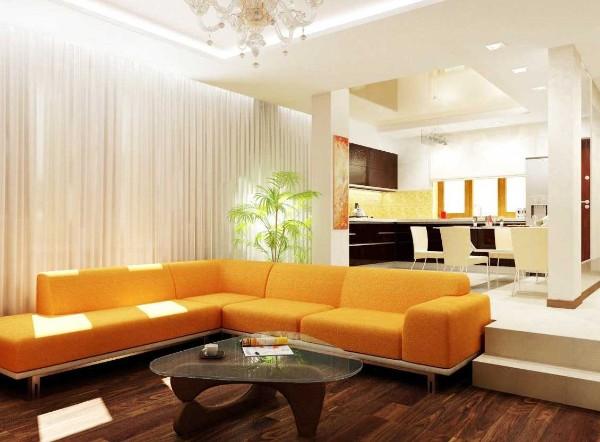 кухня студия с гостиной свежий интерьер