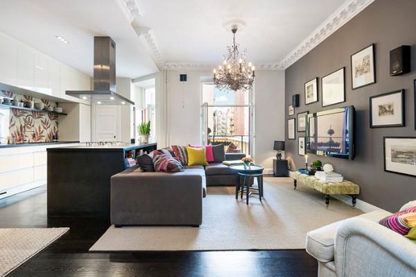 кухня студия с гостиной высокий потолок