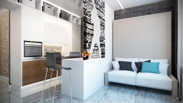 маленькая светлая кухня студия с гостиной