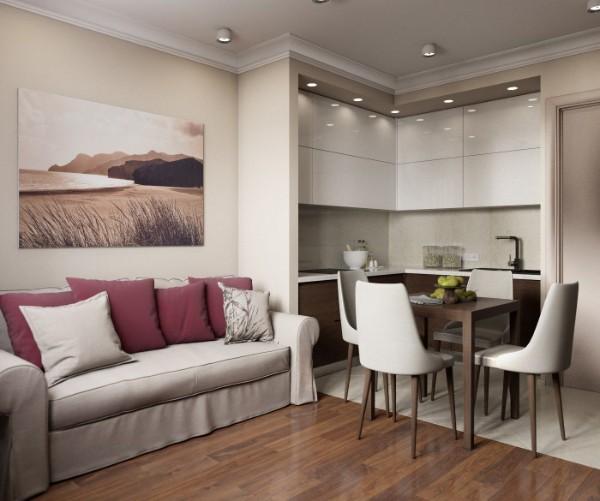 небольшая кухня студия с гостиной в бежевой гамме