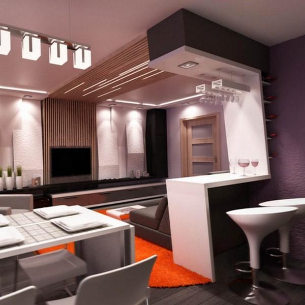 современная кухня студия с барной стойкой