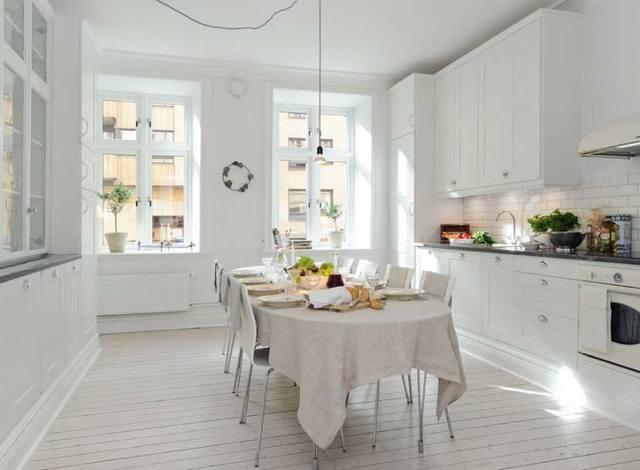 белая кухня в скандинавском стиле большая