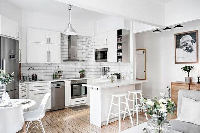 белая кухня в скандинавском стиле классическая