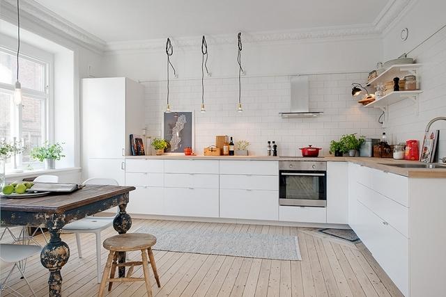 белая кухня в скандинавском стиле классика