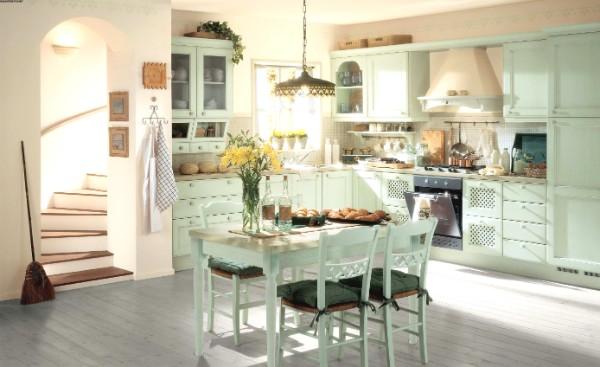 бледно-голубой дизайн кухни в стиле французский прованс