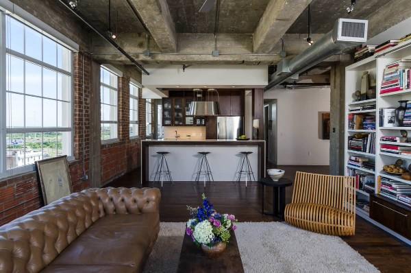 брутальный интерьер гостиной в стиле минимализм лофт