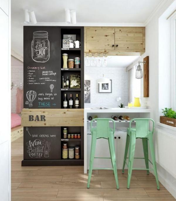 дизайн 12 м кухни с барной стойкой
