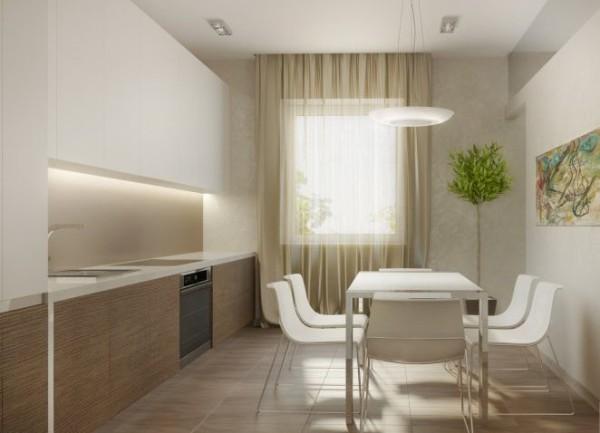 дизайн интерьера бежевой кухни в стиле минимализм