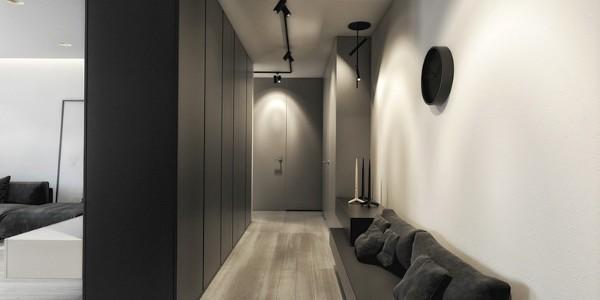 дизайн интерьера длинной прихожей в стиле минимализм