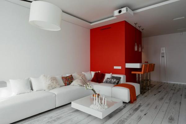 дизайн интерьера гостиной с применением красного цвета в стиле минимализм