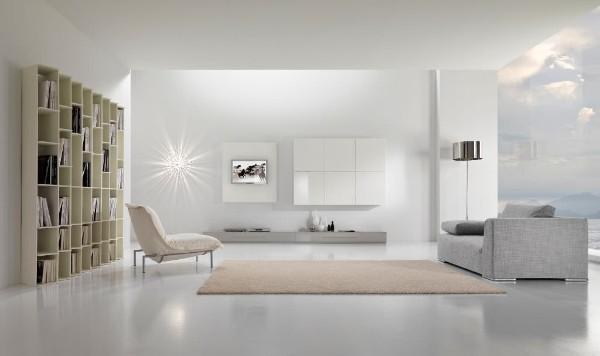 дизайн интерьера гостиной в белых тонах в стиле минимализм