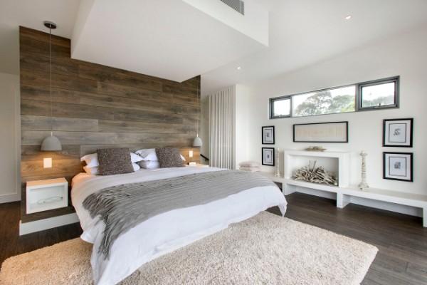 дизайн интерьера серой спаьни в стиле минимализм