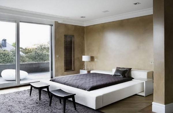 дизайн интерьера спальни с акцентной стеной в стиле минимализм