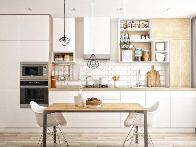 дизайн кухни гостиной в скандинавском стиле фото