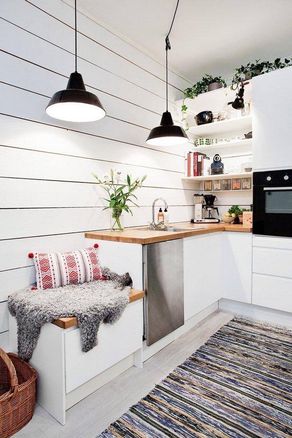 дизайн кухни гостиной в скандинавском стиле