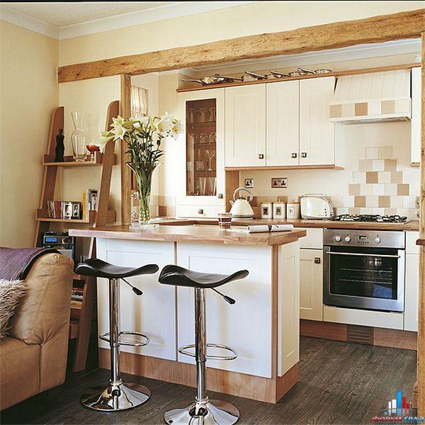 дизайн кухни с барной стойкой деревенского стиля