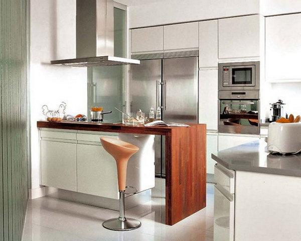 дизайн кухни с барной стойкой из дерева
