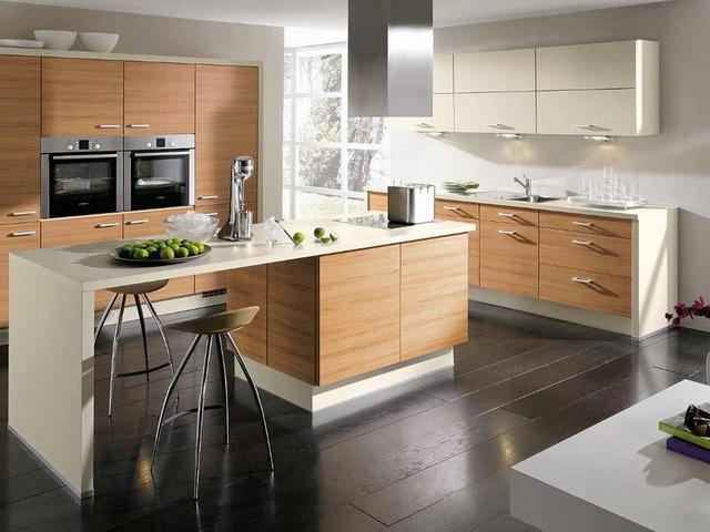 дизайн кухни с барной стойкой совмещённой деревянная